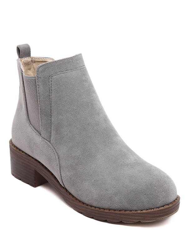 Flock Round Toe Elastic Band Ankle BootsShoes<br><br><br>Size: 38<br>Color: GRAY