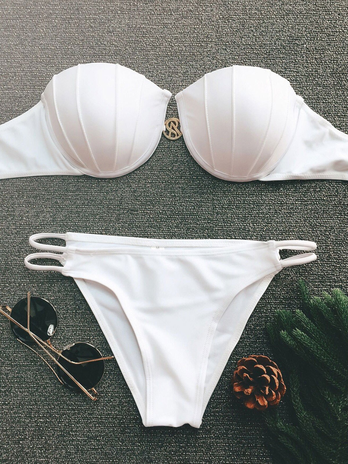 Strapless Push Up Underwire Bikini Set