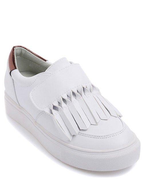 Fringe PU Leather Flat Shoes