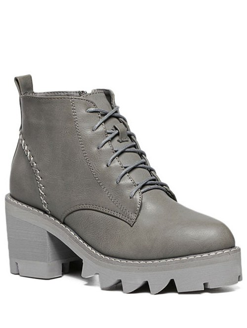 Stitching Platform Tie Up Ankle Boots - GRAY