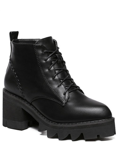 Stitching Platform Tie Up Ankle Boots - BLACK
