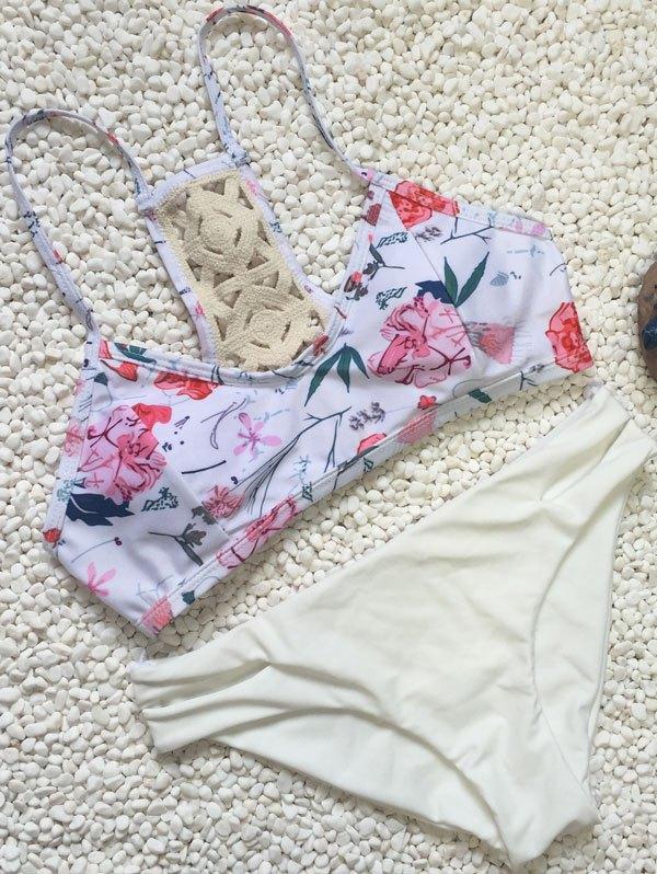 Floral Print Bikini Set With Slit