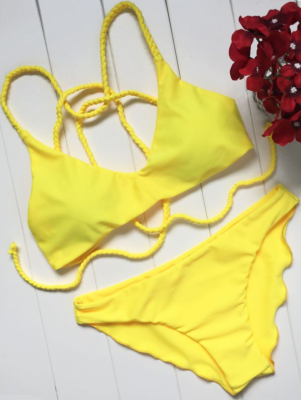 Braided Strap Yellow Bikini Set