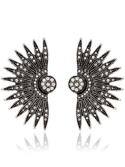 Rhinestone Alloy Fan-Shaped Drop Earrings
