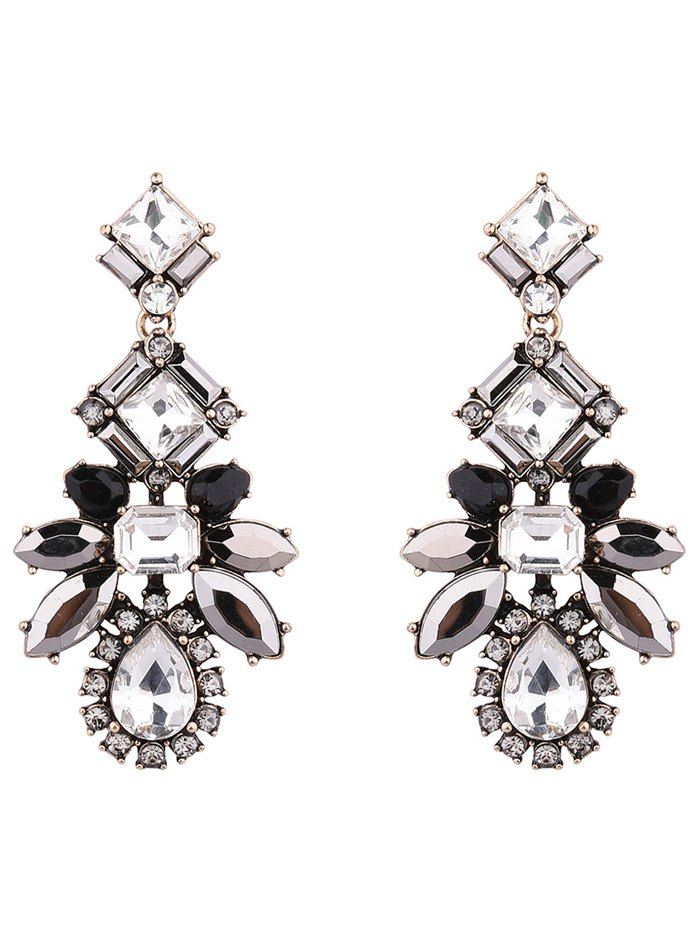 Faux Crystal Geometric Water Drop Earrings