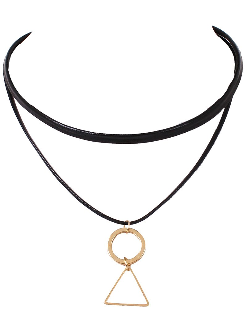 Geometric Pendant Faux Leather Layered Choker Necklace