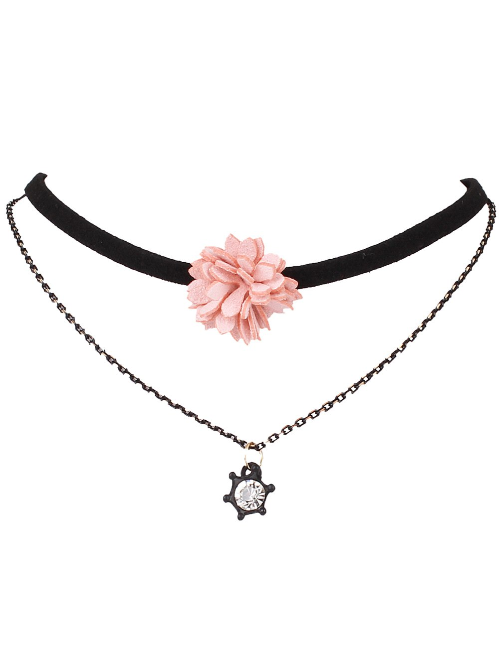 Rhinestone Flower Faux Leather Layered Choker Necklace