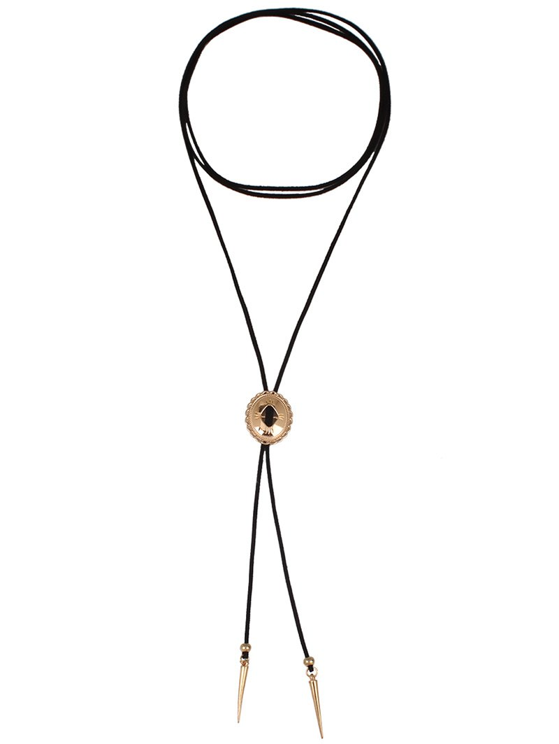 Cone Pendant Layered Wrap Choker Necklace