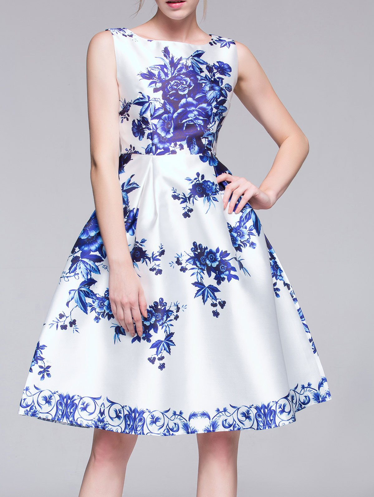 Sleeveless Porcelain Print A-Line Midi Dress