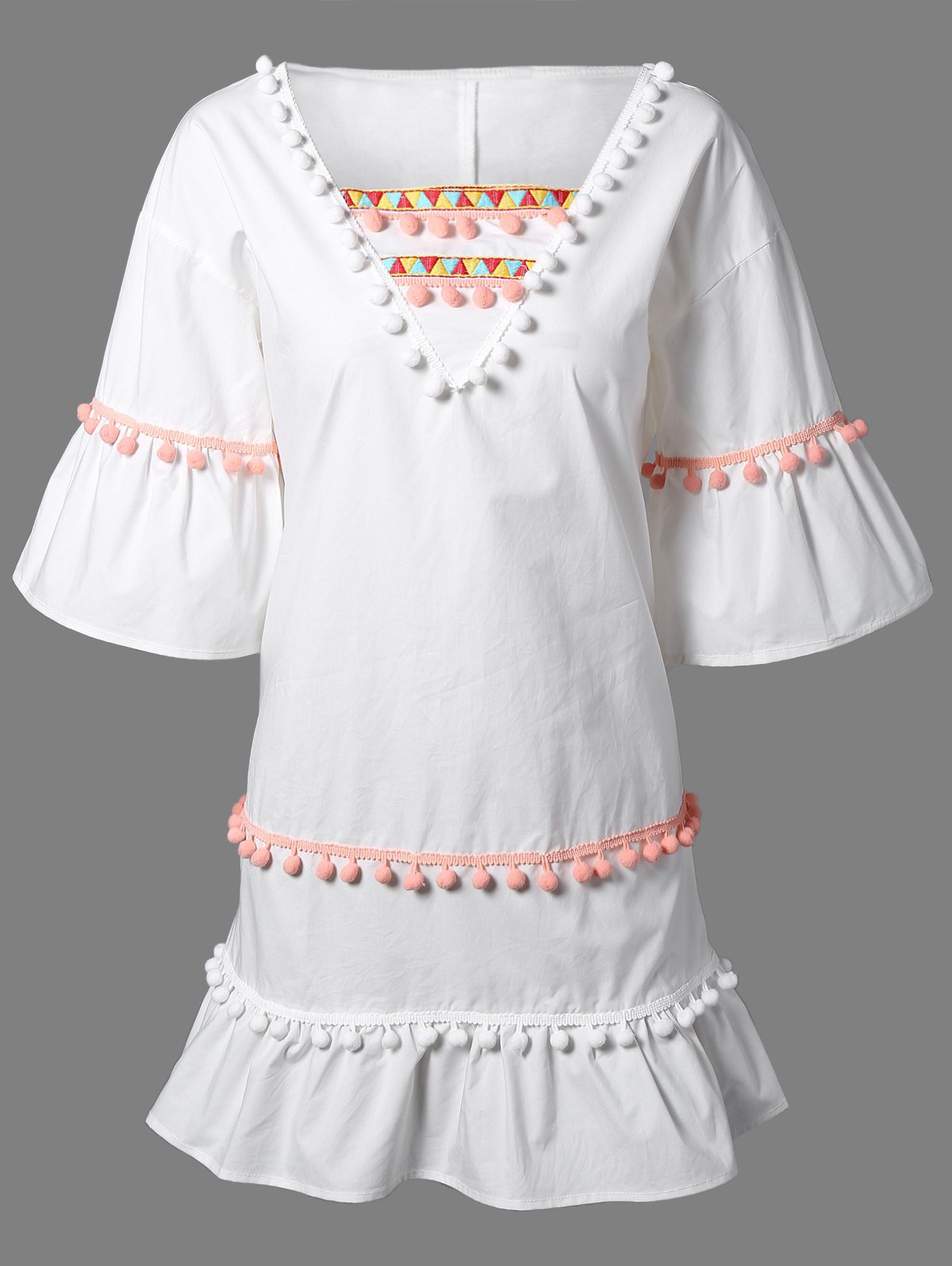 V Neck 3/4 Sleeve Colored Embroidery Dress