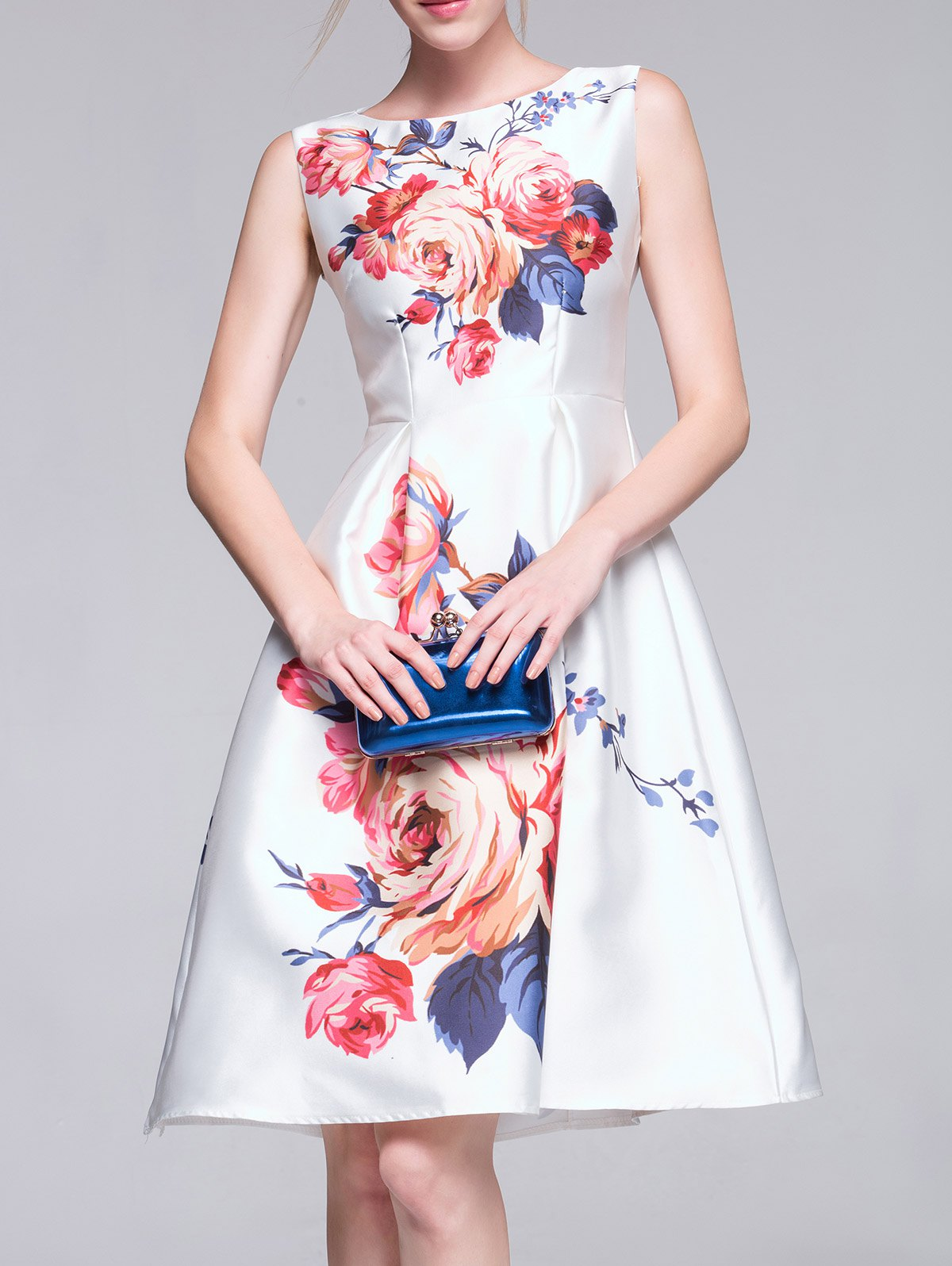 Sleeveless Flower Print A-Line Midi Dress