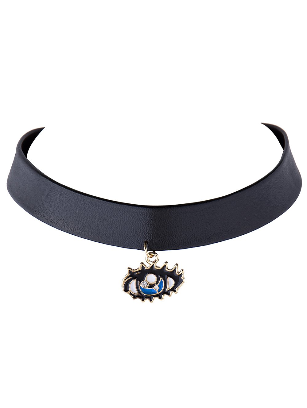 Rhinestone Eye Faux Leather Choker Necklace