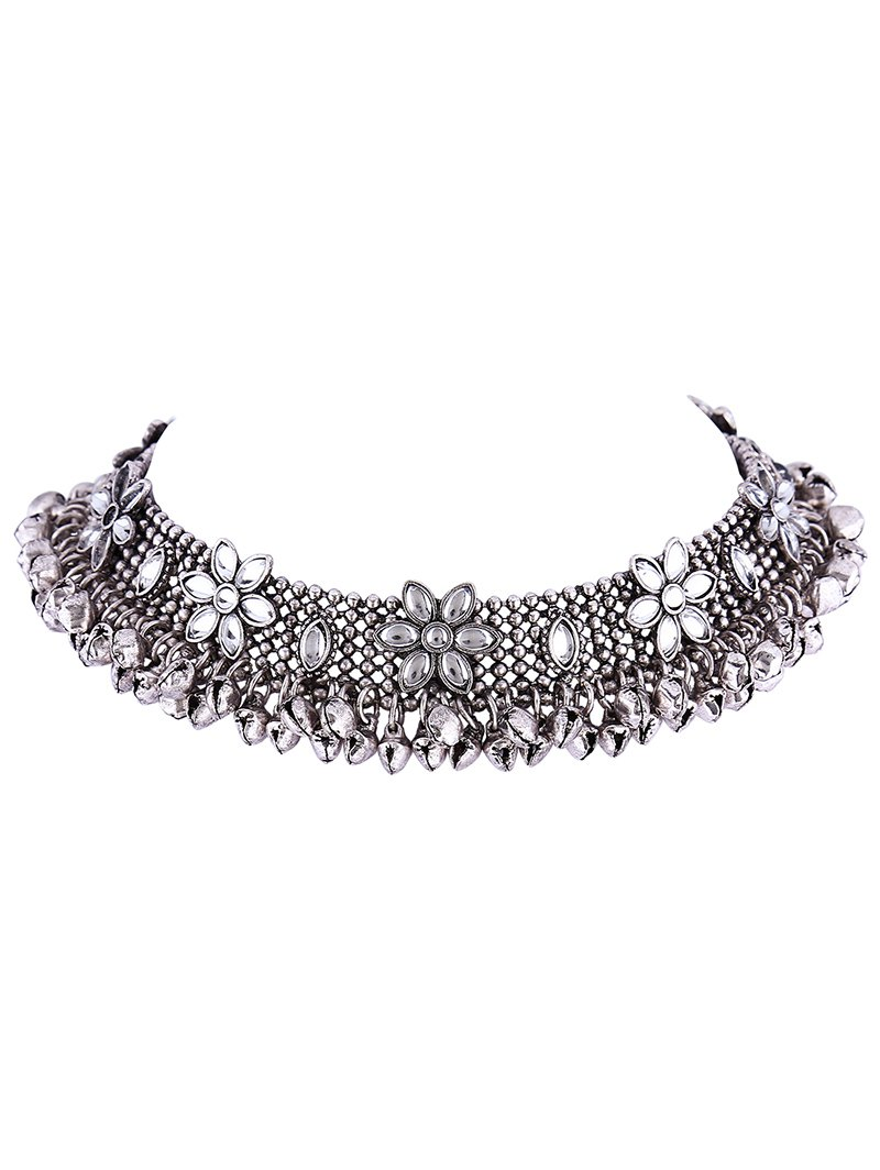 Flower Bell Fringe Alloy ChokerAccessories<br><br><br>Color: SILVER