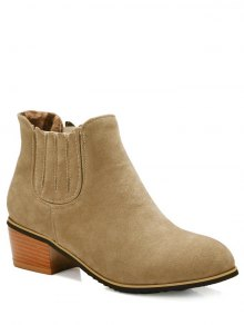 Chunky Heel Elastic Band Ankle Boots