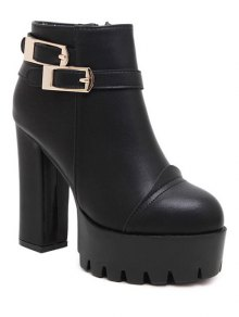 Chunky Heel Platform Double Buckles Ankle Boots - Black