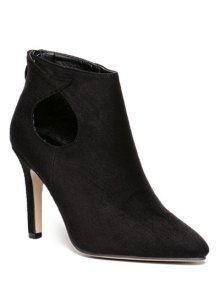 Buy Cut Stiletto Heel Ankle Boots 38 BLACK