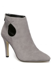 Buy Cut Stiletto Heel Ankle Boots 37 GRAY