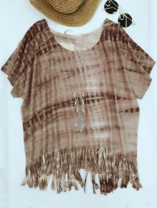 Buy Tie-Dyed Round Neck Batwing Sleeve Tassels T-Shirt - COFFEE S