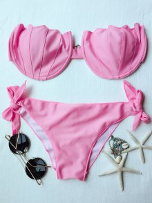 Strapless Solid Color Padded Bikini Set