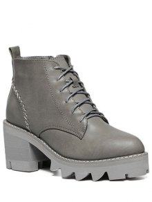 Buy Stitching Platform Tie Ankle Boots - GRAY 37
