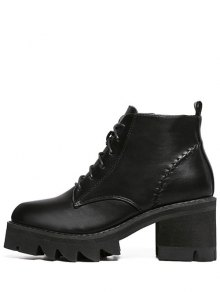 Stitching Platform Tie Up Ankle Boots BLACK: Boots 39 | ZAFUL