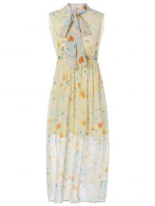 Bow-Tie Printed Maxi Dress