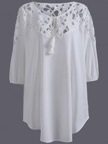 Plus Size Crochet Yoke Blouse - White 4xl