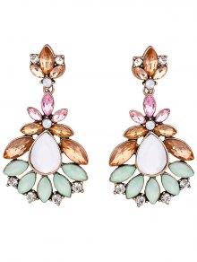 Faux Gem Water Drop Leaf Earrings