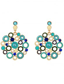 Alloy Rhinestone Circle Drop Earrings