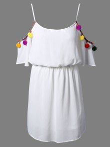 White Cami 3/4 Sleeve A Line Dress
