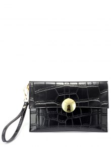 Metal Crocodile Embossed Clutch Bag
