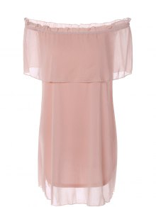 Ruffles Off The Shoulder Chiffon Dress - Pink