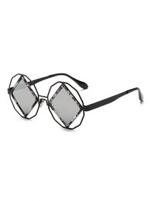 Rhombus Mirrored Irregular Sunglasses - Silver