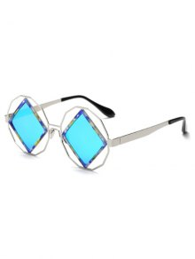 Rhombus Mirrored Irregular Sunglasses - Light Blue