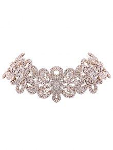 Rhinestoned Flower Necklace