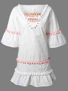 Buy Pom Embroidery V Neck 3/4 Sleeve Dress - WHITE 2XL