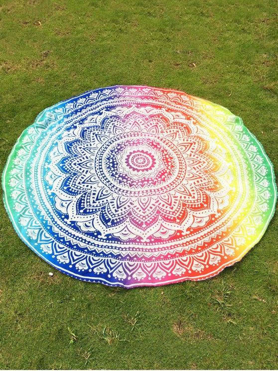 Couverture de plage ronde colorée à motifs de fleurs de lotus - Coloré TAILLE MOYENNE