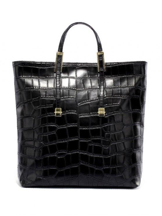 Crocodile Embossed Metal Buckle Tote Bag - BLACK  Mobile