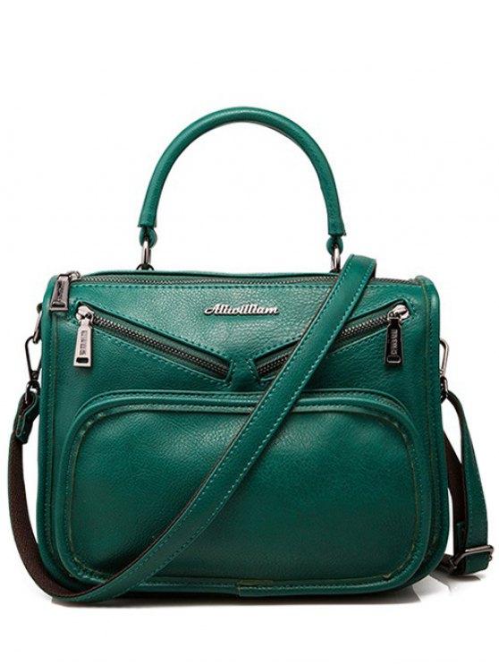 unique Metal PU Leather Zippers Crossbody Bag - GREEN