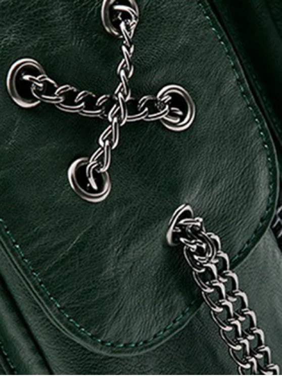 Chains Zippers PU Leather Backpack - BLACKISH GREEN  Mobile