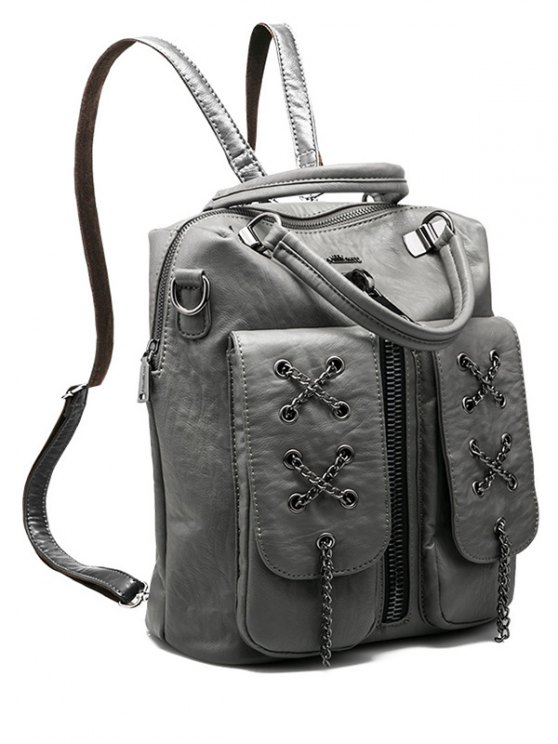 fashion Chains Zippers PU Leather Backpack - GRAY