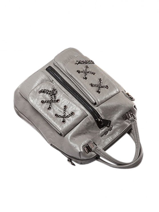 Chains Zippers PU Leather Backpack - GRAY  Mobile