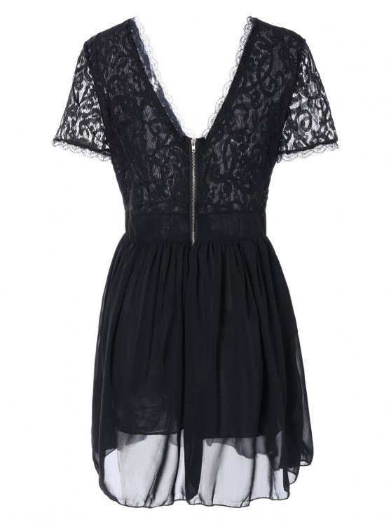Lace Spliced Plunging Neck Sexy Birthday Dress - BLACK S Mobile