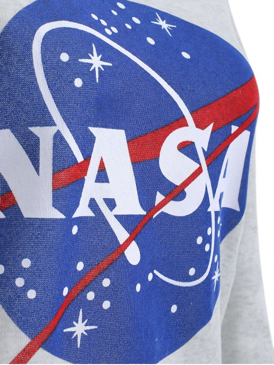 Round Neck Galaxy Print Sweatshirt - LIGHT GRAY XL Mobile