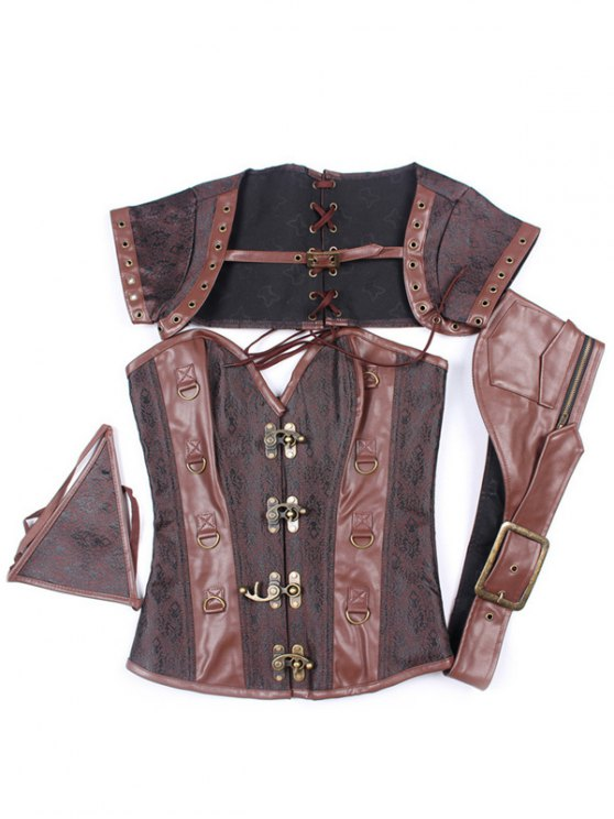 Zipper Buckle Design Asymmetric Corset - DEEP BROWN L Mobile