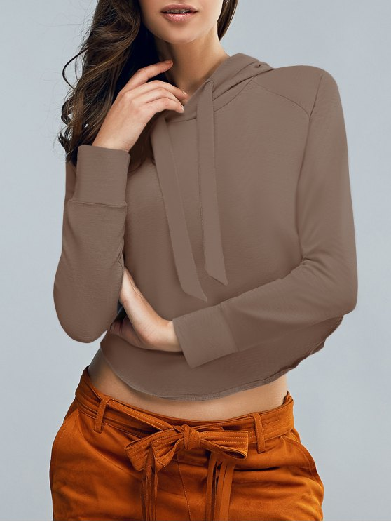 shops Cropped Hooded Long Sleeve Pullover Hoodie - COFFEE M