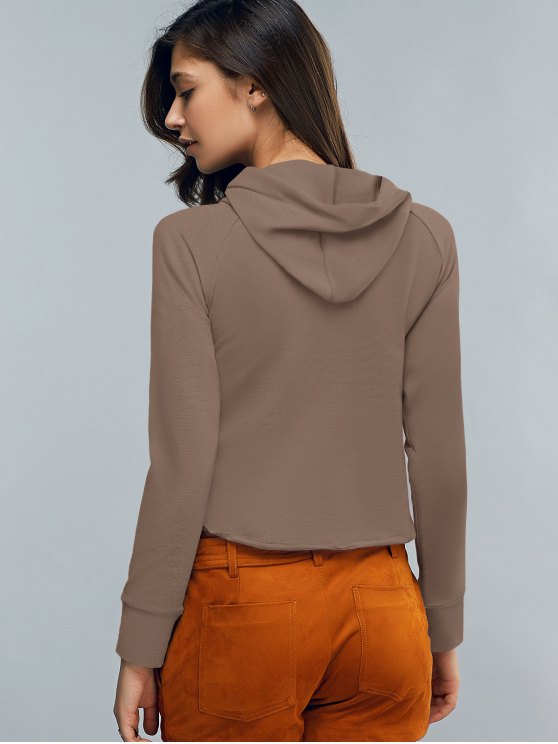 Cropped Hooded Long Sleeve Pullover Hoodie - COFFEE M Mobile