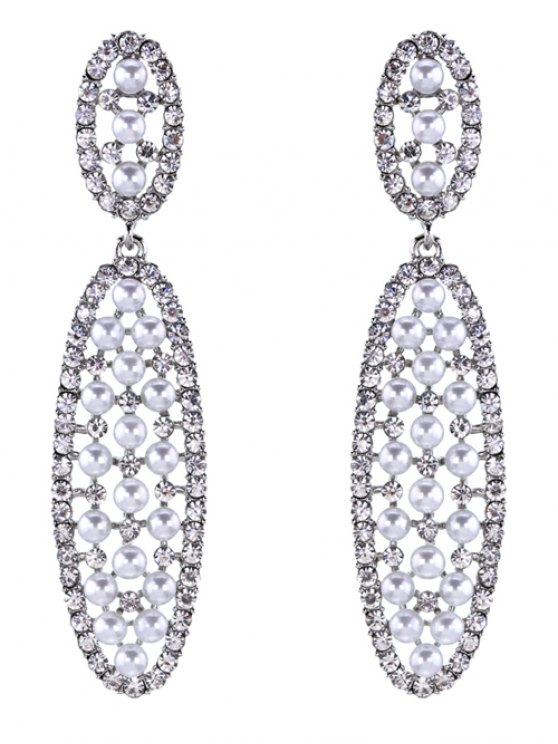 trendy Rhinestoned Faux Pearl Oval Drop Earrings - SILVER