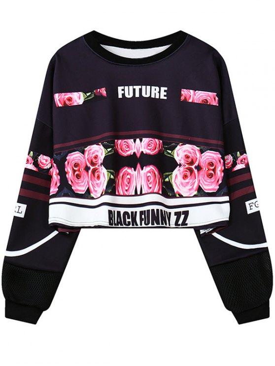 online Floral Letter Print Cropped Sweatshirt - BLACK ONE SIZE