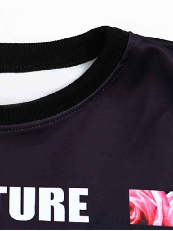 Floral Letter Print Cropped Sweatshirt - BLACK ONE SIZE Mobile